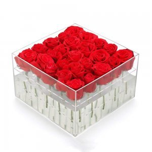 25 Holes For 25 Roses Clear Acrylic Flower Box With Logo Printed