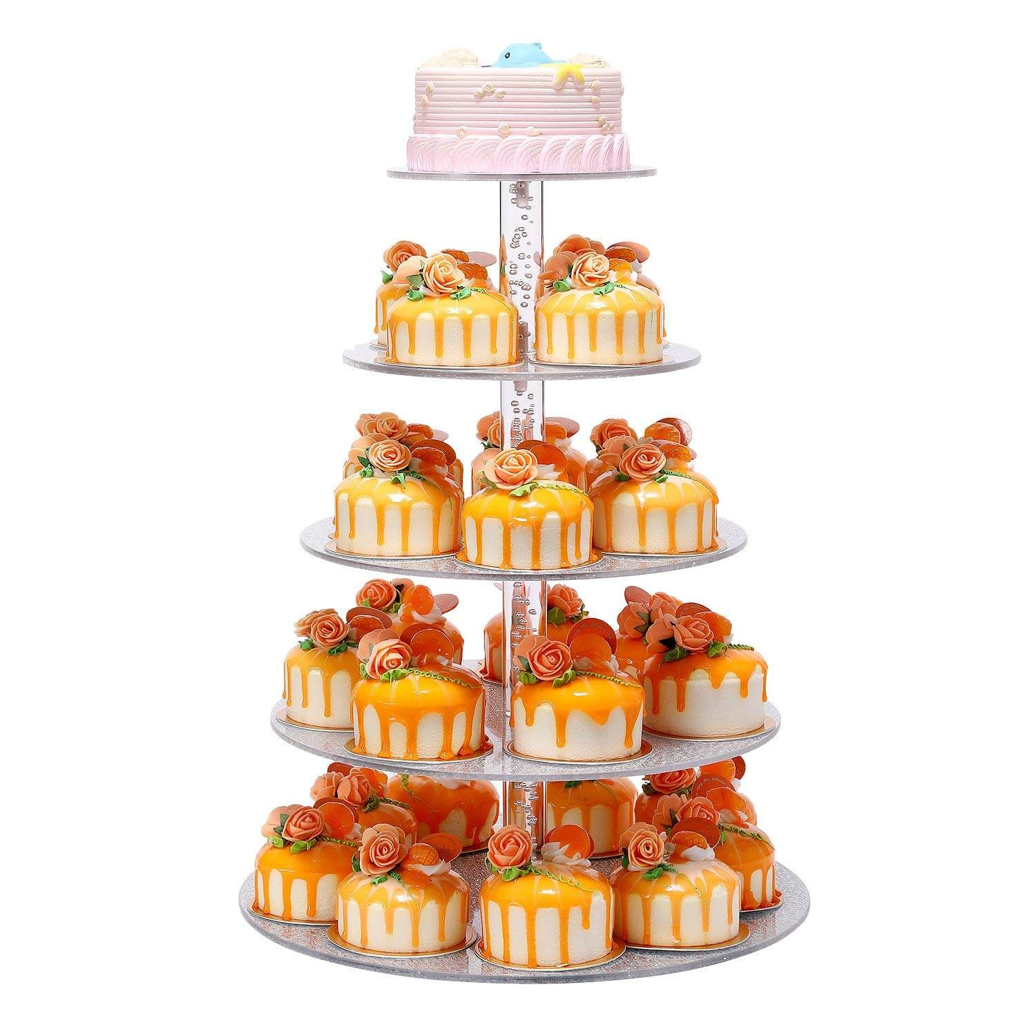 5 Tier Elegant Sliver Round Wedding Party Tree Tower Acrylic Cupcake Display Stand