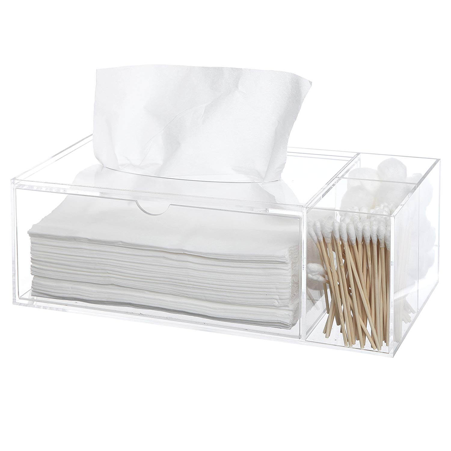 Clear Acrylic Counter Top Multi Compartment Storage Organizer Box Tray w/ Tissue Dispenser Box