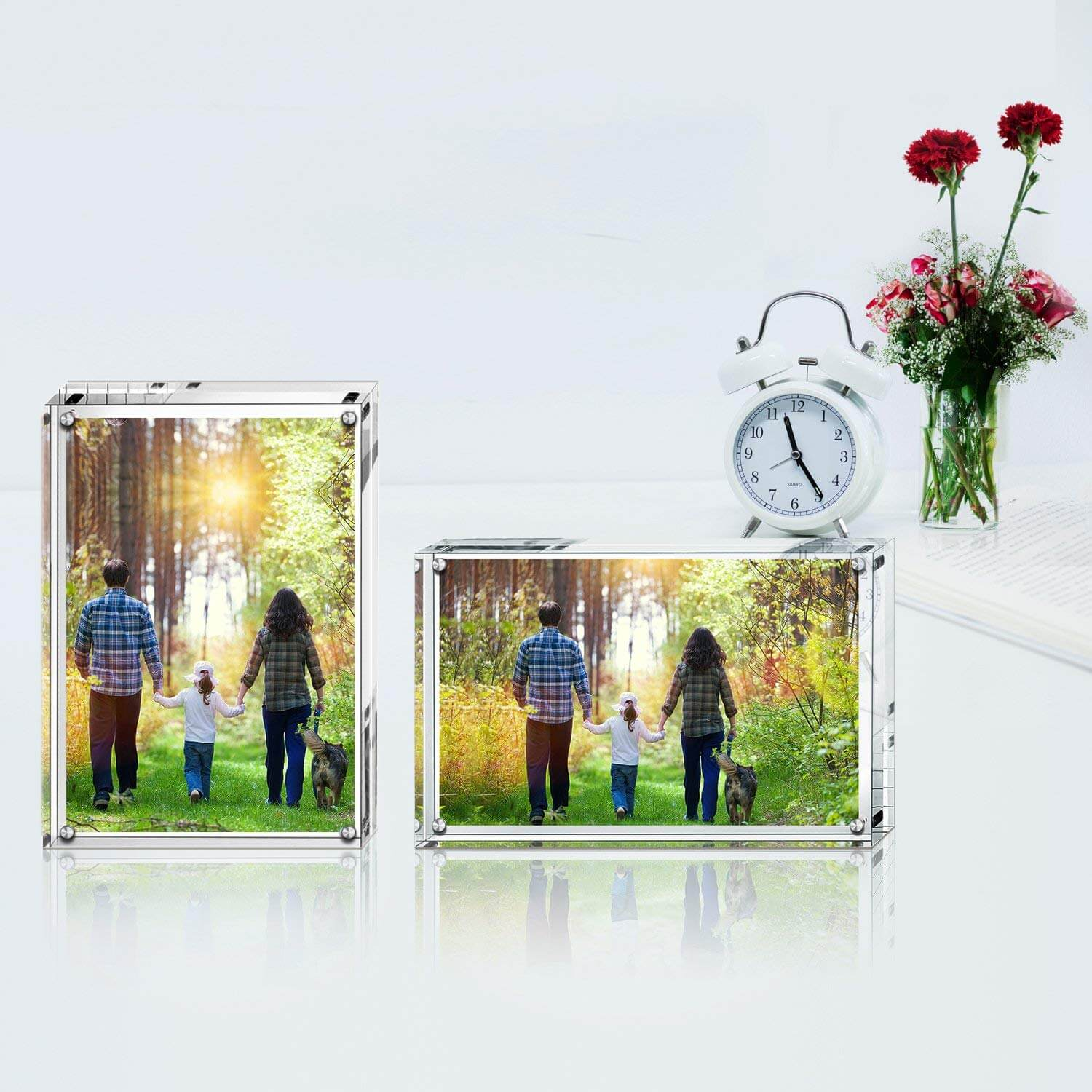 Acrylic Photo Frames, Stand with Magnets, Holds 5 X 7 Inches Pictures,10mm+10mm Thickness