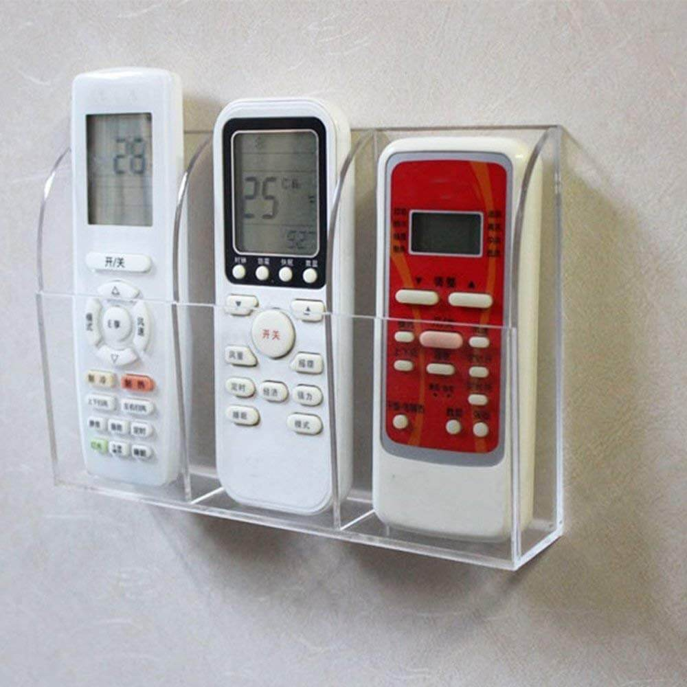 Acrylic Remote Control Holder Media Organizer Box - Wall Mounted