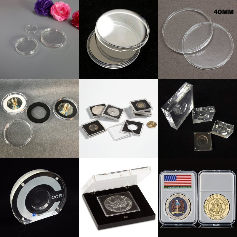 Clear Acrylic Coin Capsule Boxes